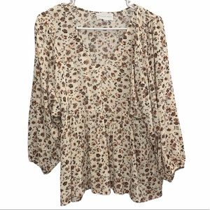 French Grey Long Sleeve Floral Blouse Medium